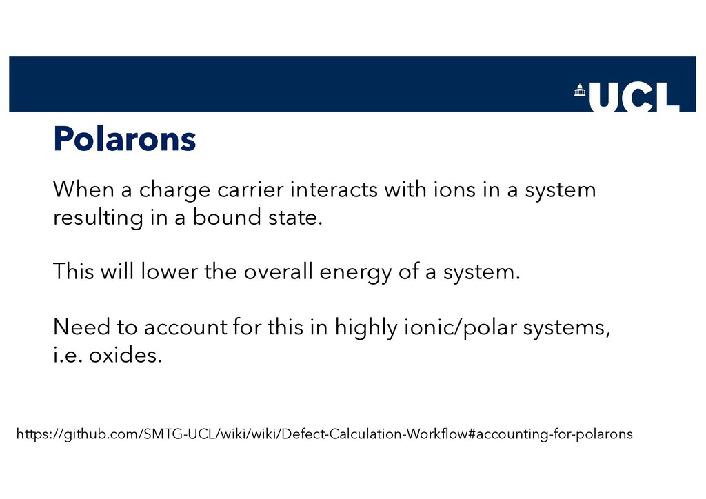 Polarons When a charge carrier interacts with i...