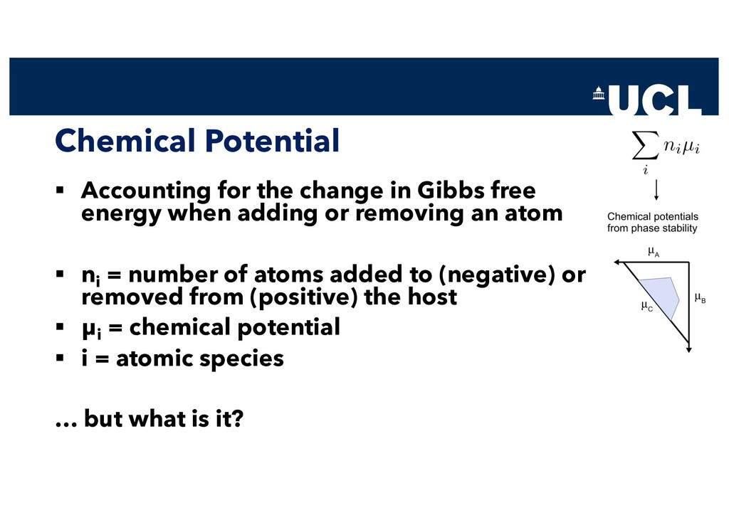 Chemical Potential § Accounting for the change ...