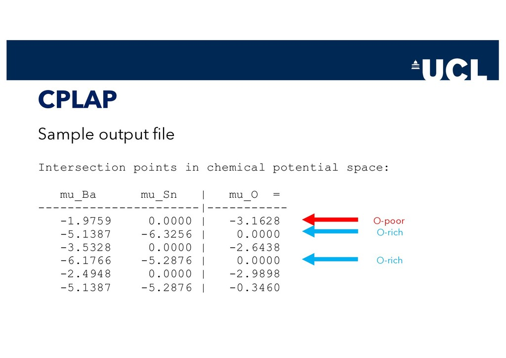 CPLAP Sample output file Intersection points in...