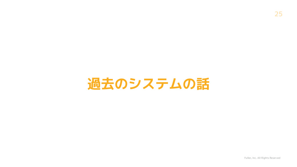 Fuller, Inc. All Rights Reserved 25 過去のシステムの話