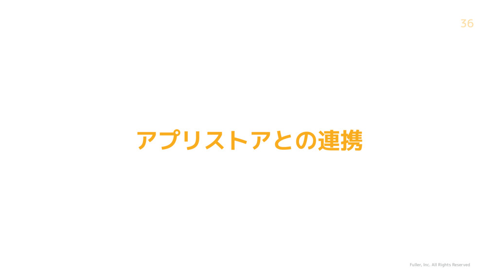Fuller, Inc. All Rights Reserved 36 アプリストアとの連携
