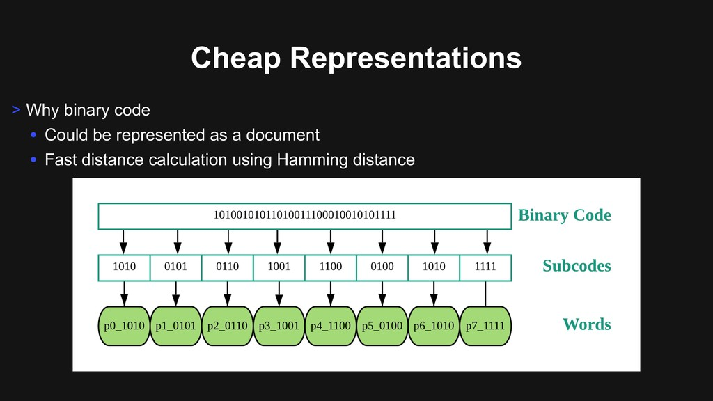 Cheap Representations > Why binary code • Could...