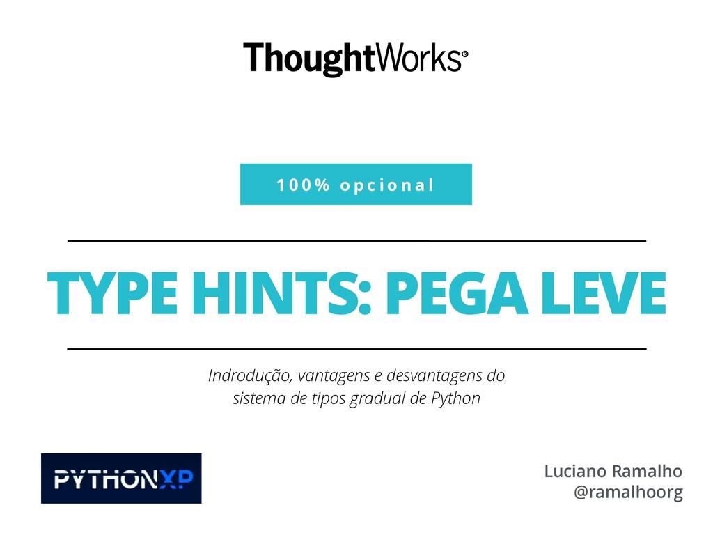 1 0 0 % o p c i o n a l TYPE HINTS: PEGA LEVE I...