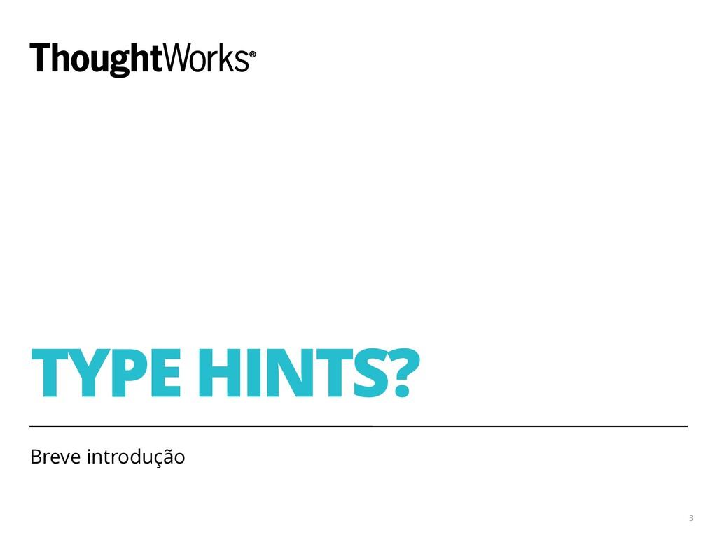 TYPE HINTS? Breve introdução 3