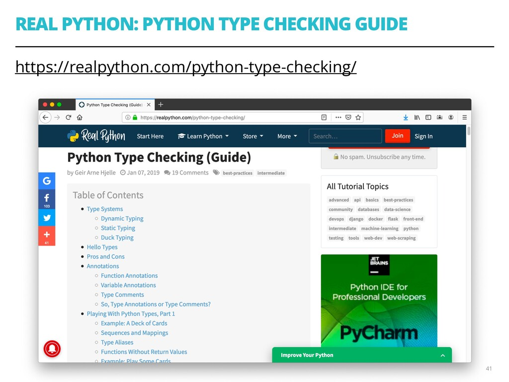 REAL PYTHON: PYTHON TYPE CHECKING GUIDE https:/...