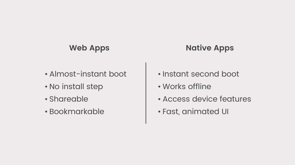Web Apps Native Apps • Almost-instant boot • No...