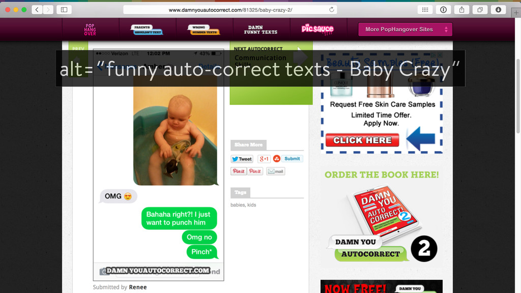 "alt=""funny auto-correct texts - Baby Crazy"""