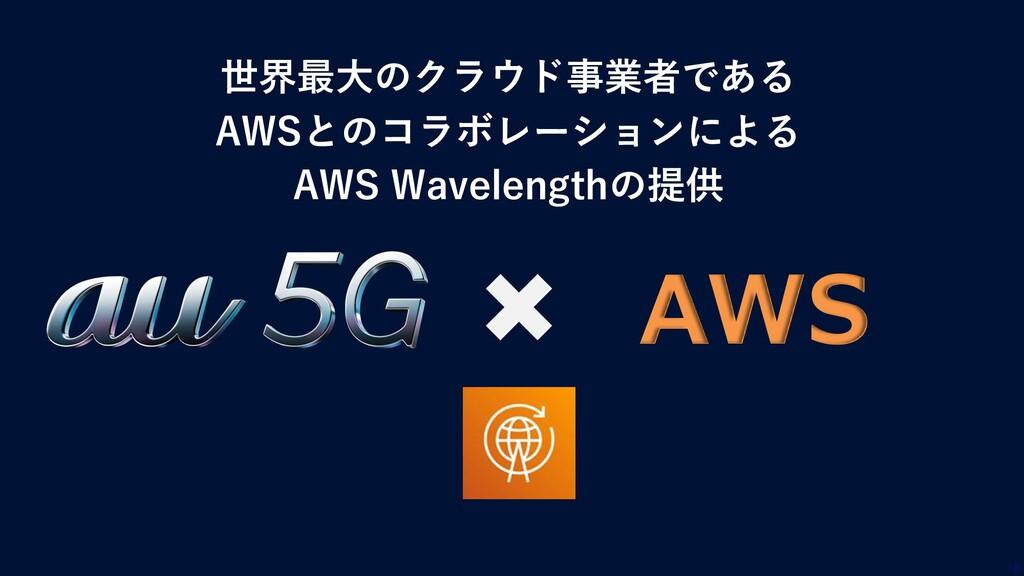 世界最大のクラウド事業者である AWSとのコラボレーションによる AWS Wavelength...