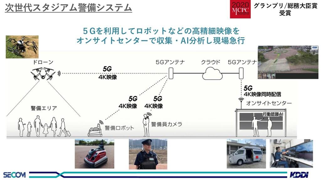 次世代スタジアム警備システム 5Gを利用してロボットなどの高精細映像を オンサイトセンターで収...