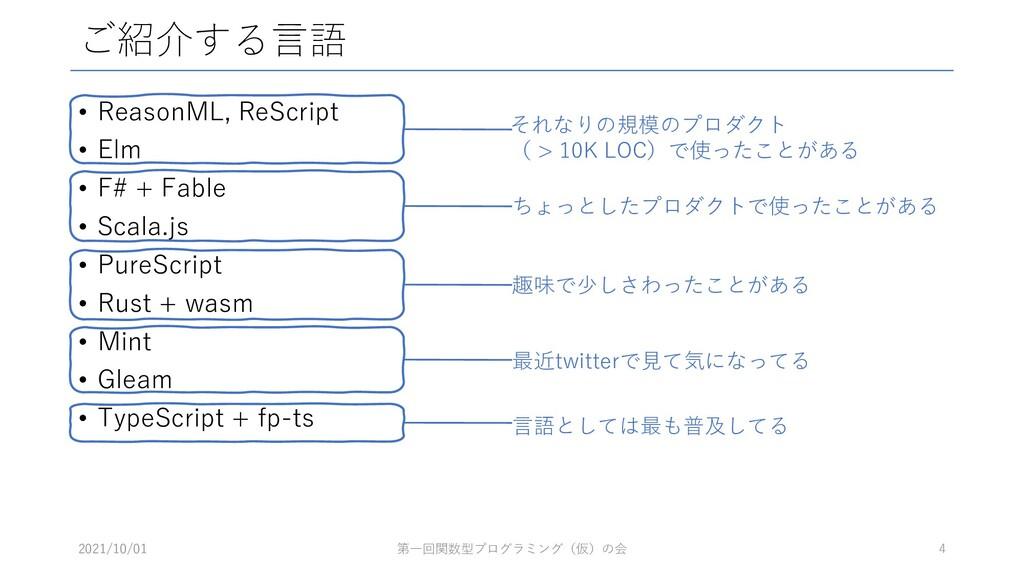 ご紹介する言語 • ReasonML, ReScript • Elm • F# + Fable...