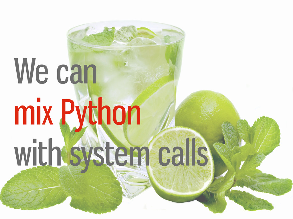 We can mix Python with system calls