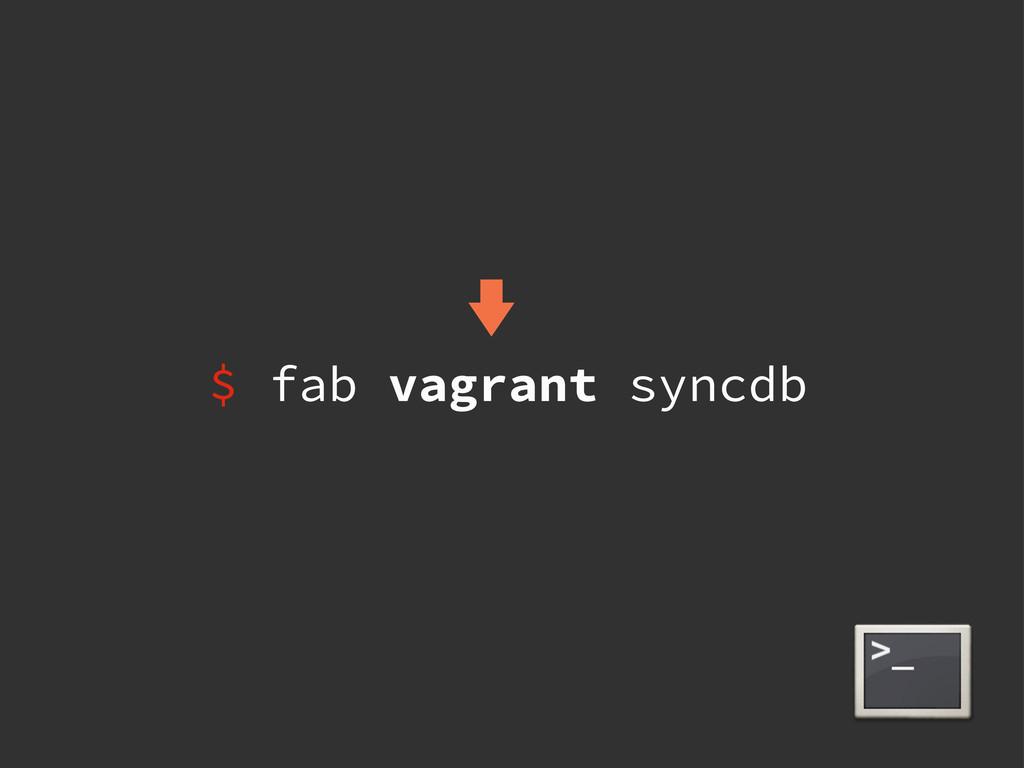 $ fab vagrant syncdb