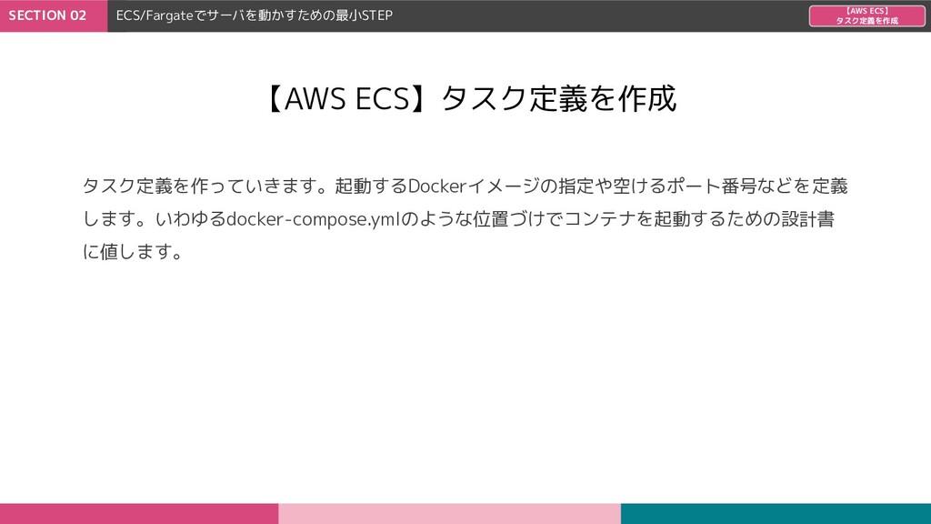 SECTION 02 ECS/Fargateでサーバを動かすための最小STEP 【AWS EC...