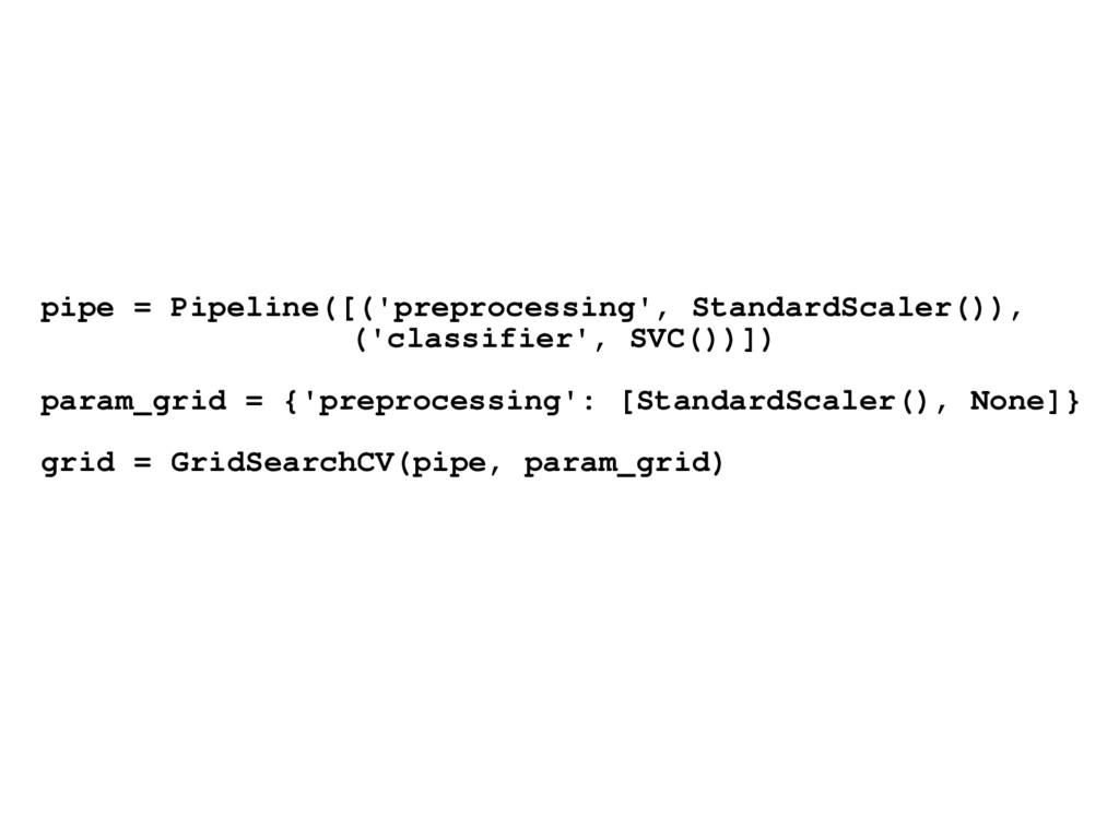 pipe = Pipeline([('preprocessing', StandardScal...