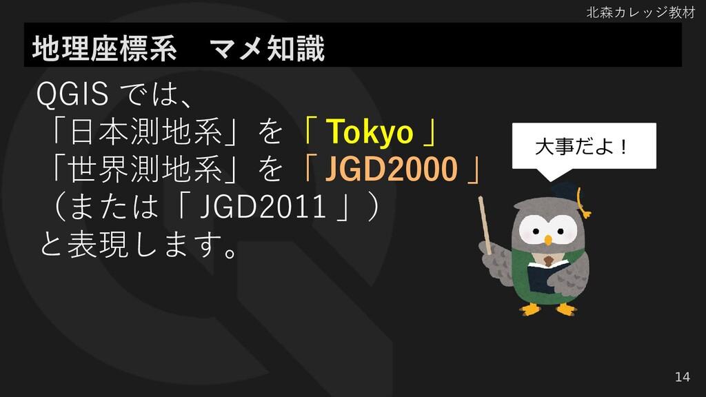 北森カレッジ教材 地理座標系 マメ知識 14 QGIS では、 「日本測地系」を「 Tokyo...