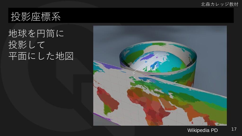 北森カレッジ教材 投影座標系 17 地球を円筒に 投影して 平面にした地図 Wikipedia...