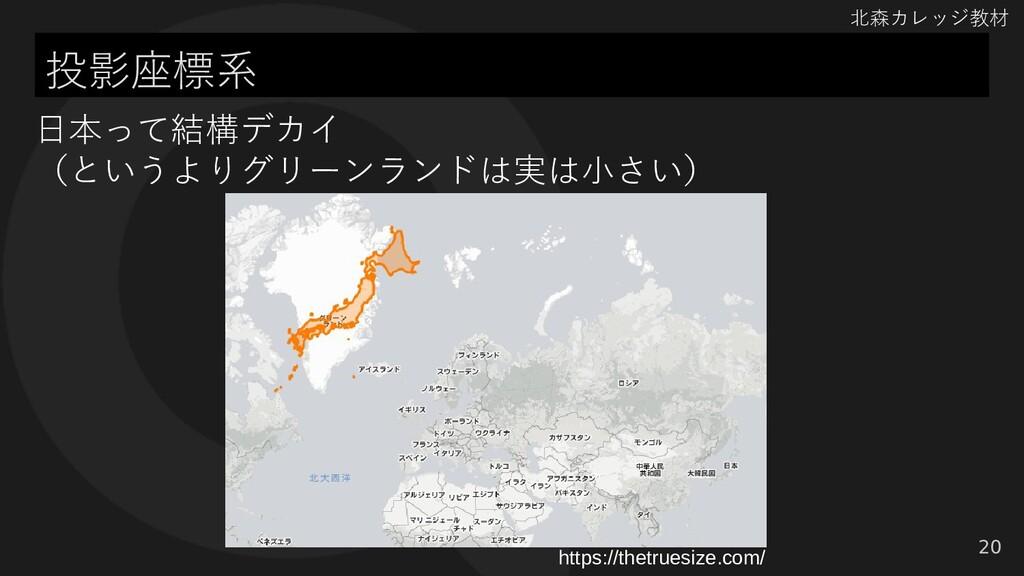 北森カレッジ教材 投影座標系 20 日本って結構デカイ (というよりグリーンランドは実は小さい...