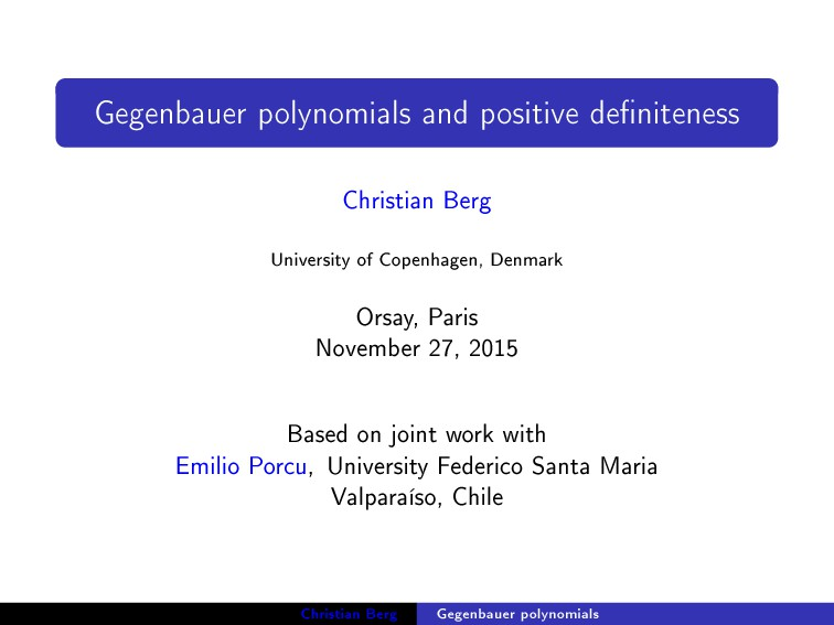 Gegenbauer polynomials and positive deniteness...