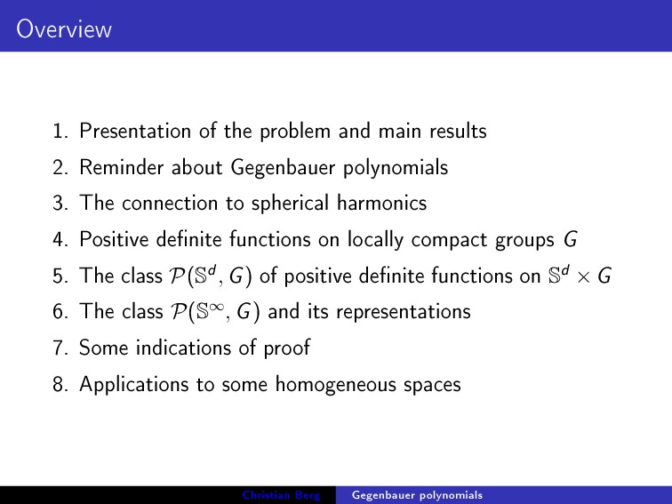 Overview 1. Presentation of the problem and mai...