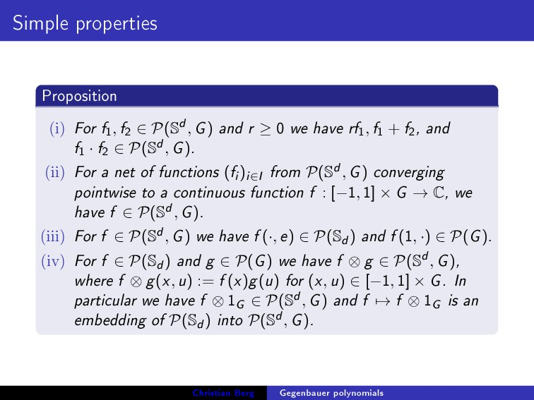 Simple properties Proposition (i) For f 1 , f 2...