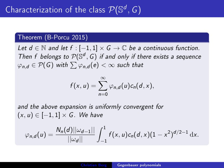 Characterization of the class P(Sd, G) Theorem ...