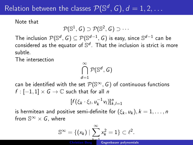 Relation between the classes P(Sd, G), d = 1, 2...