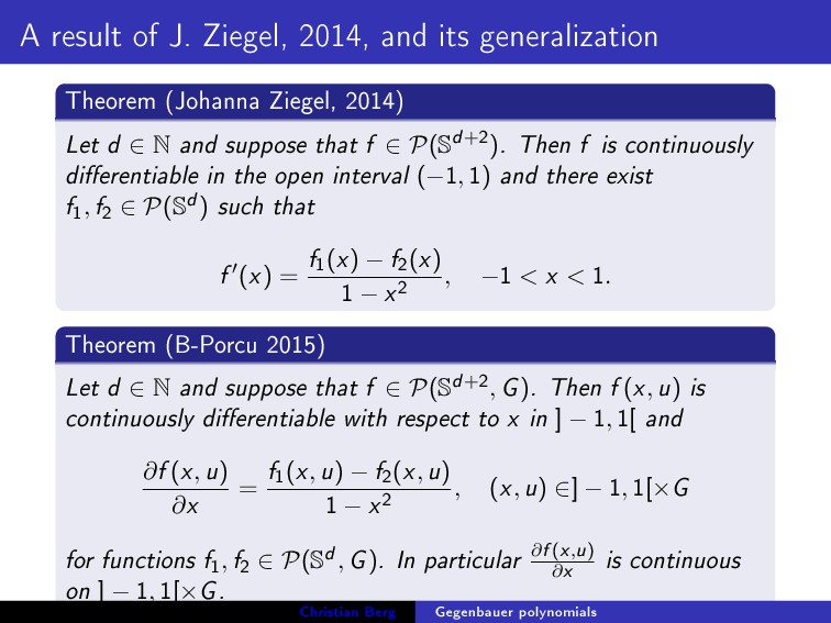 A result of J. Ziegel, 2014, and its generaliza...