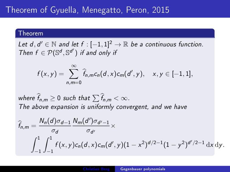 Theorem of Gyuella, Menegatto, Peron, 2015 Theo...