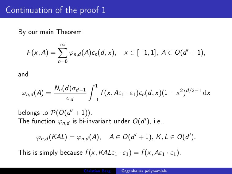 Continuation of the proof 1 By our main Theorem...