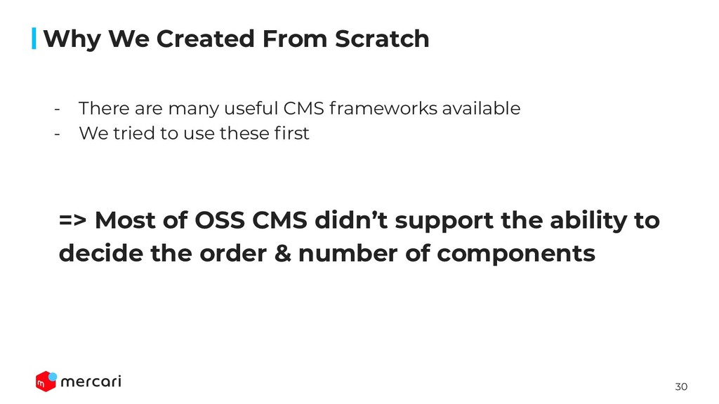 30 => Most of OSS CMS didn't support the abilit...