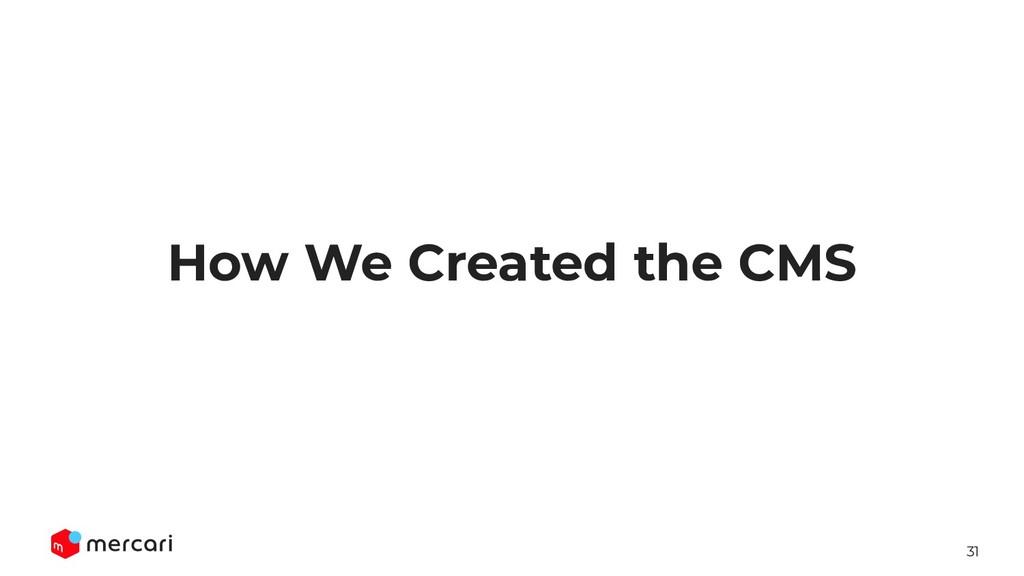 31 How We Created the CMS