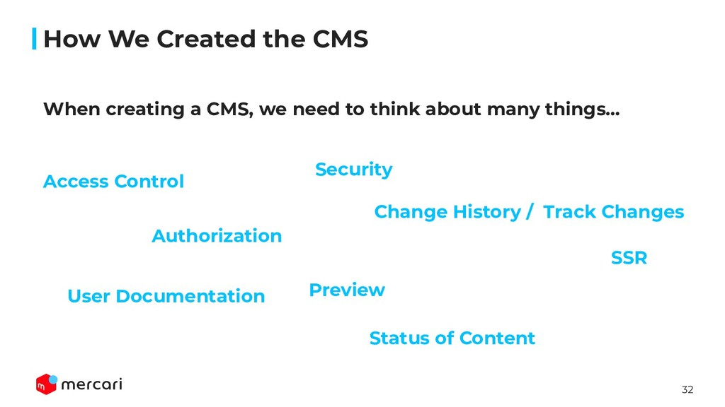32 User Documentation When creating a CMS, we n...
