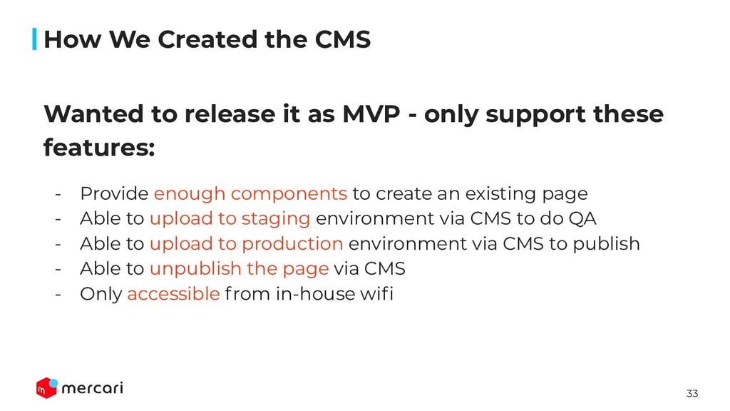 33 Wanted to release it as MVP - only support t...