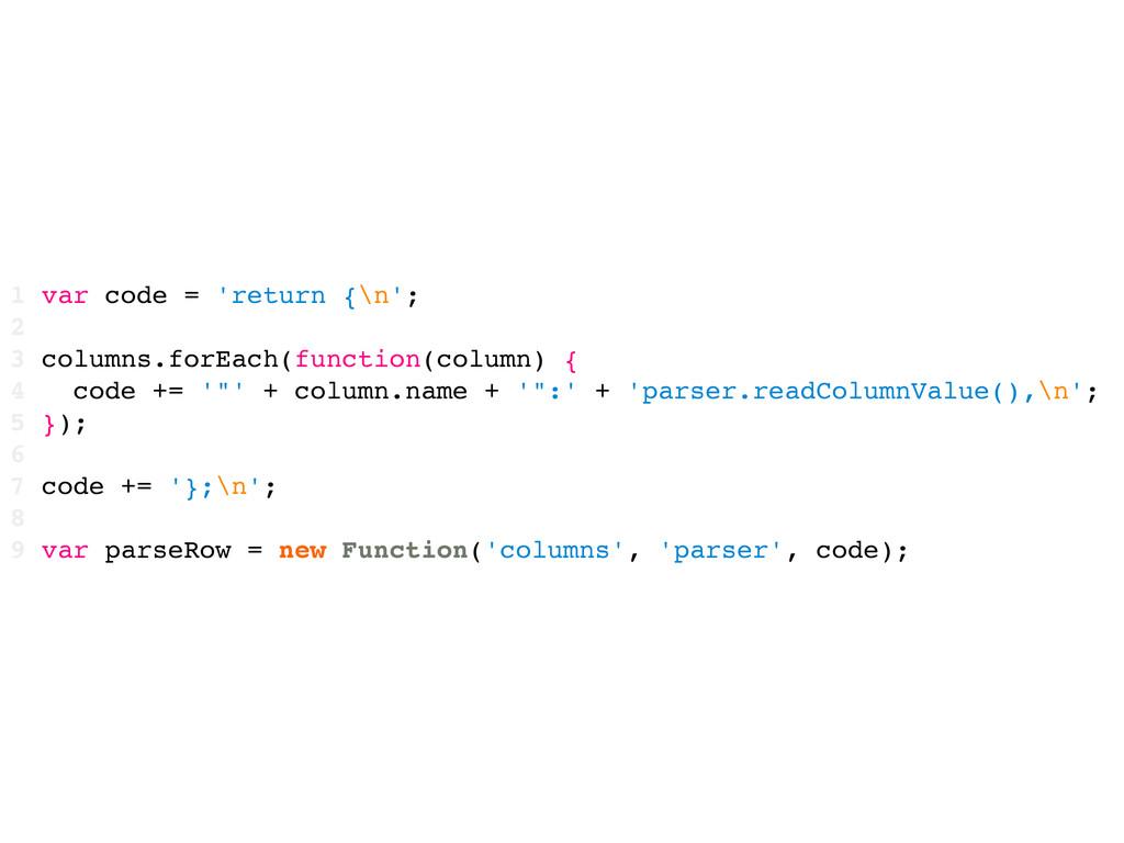 1 var code = 'return {\n'; 2 3 columns.forEach(...