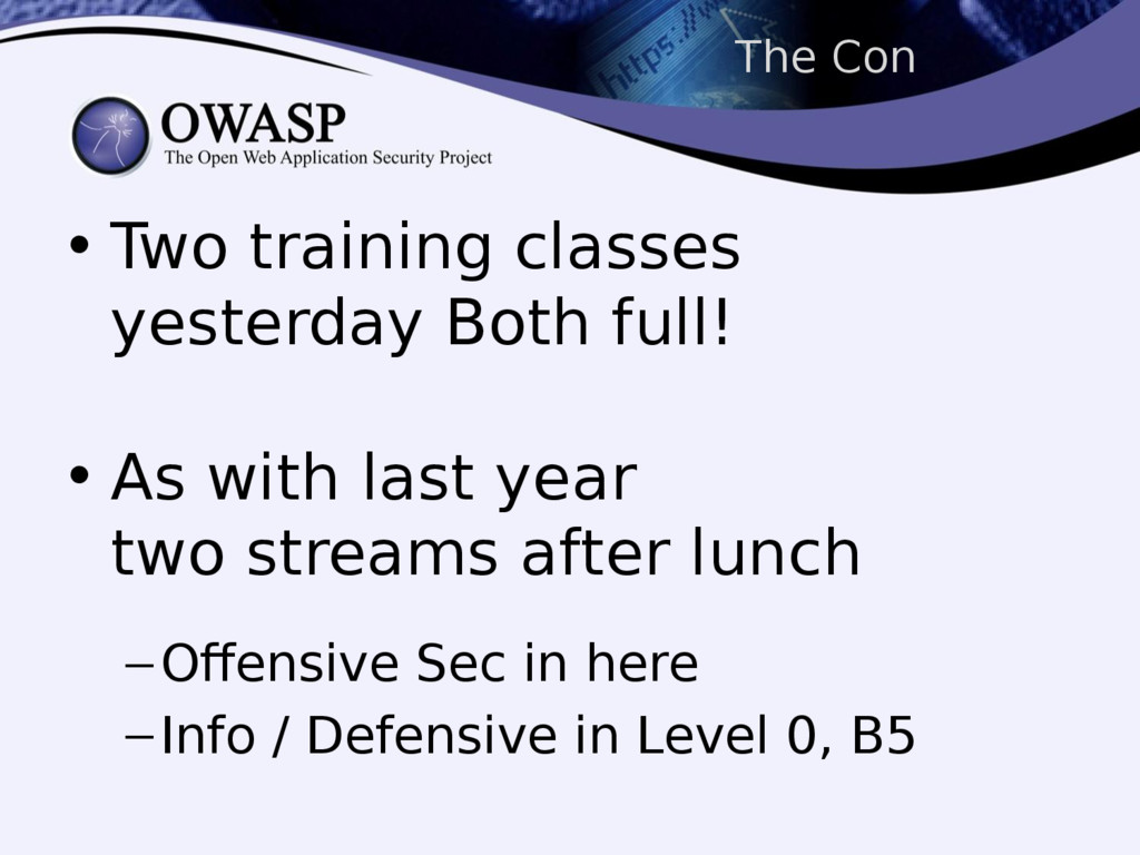 The Con • Two training classes yesterday Both f...