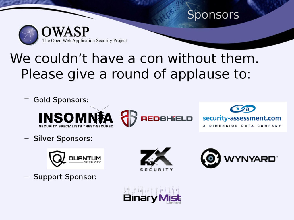 Sponsors We couldn't have a con without them. P...