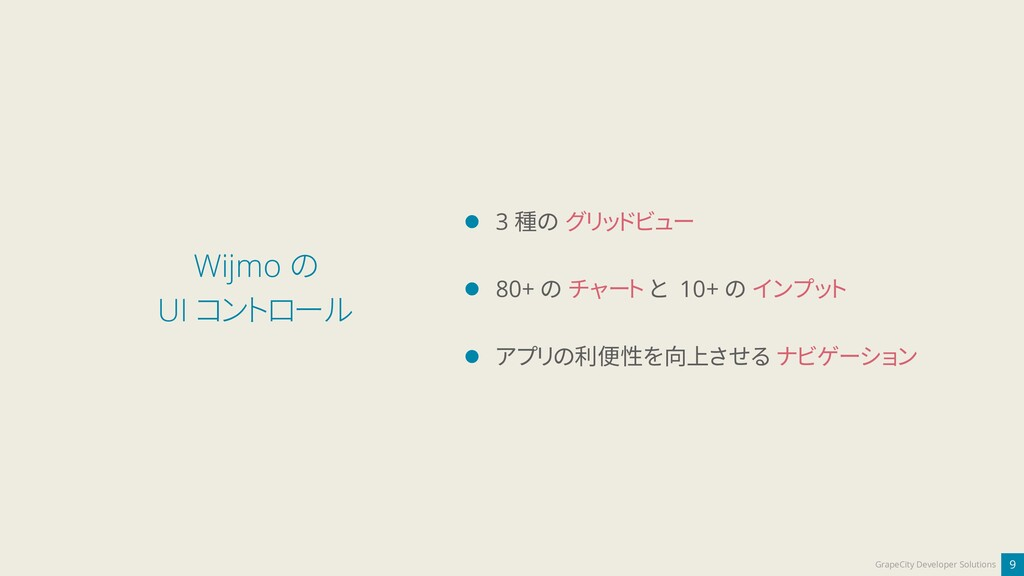 9 GrapeCity Developer Solutions Wijmo の UI コントロ...