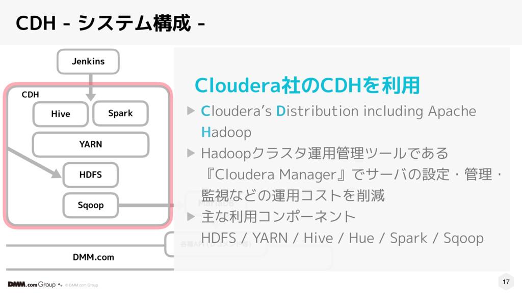 17 © DMM.com Group CDH - システム構成 - CDH Spark Hiv...