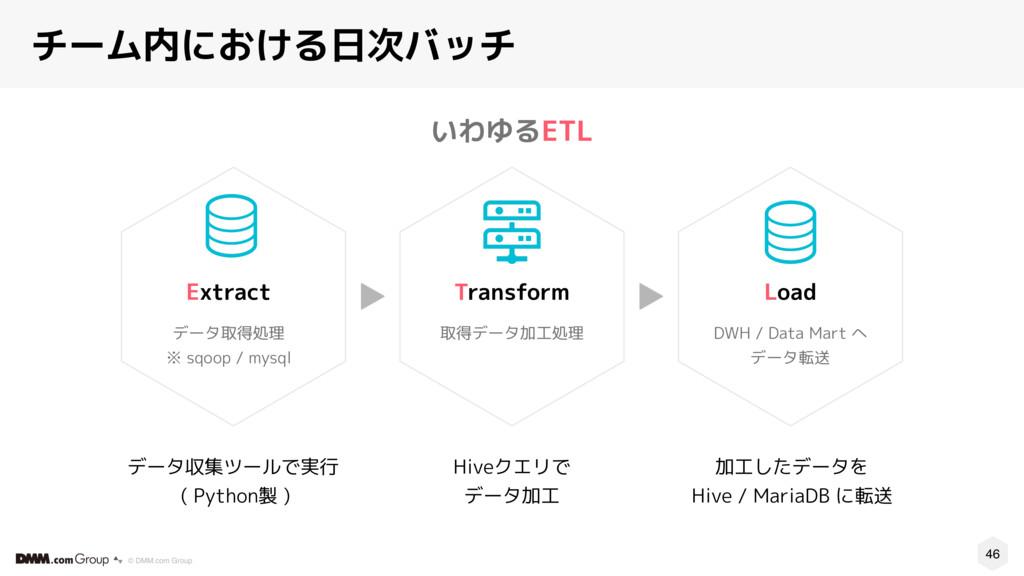 46 © DMM.com Group いわゆるETL チーム内における日次バッチ データ収集ツ...