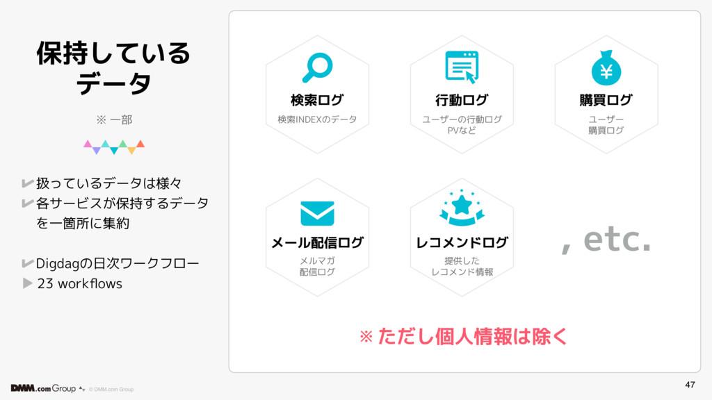 47 © DMM.com Group 保持している データ 扱っているデータは様々 各サービス...