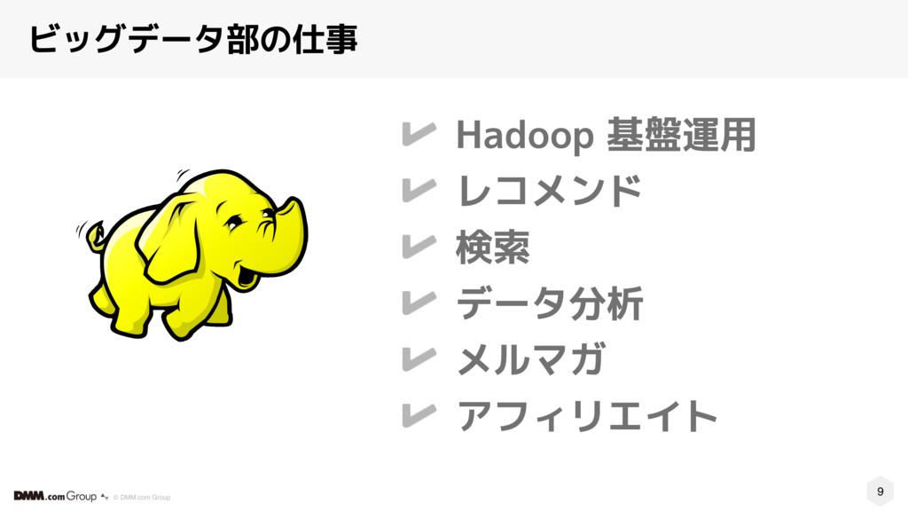 9 © DMM.com Group ビッグデータ部の仕事 Hadoop 基盤運用 レコメンド ...