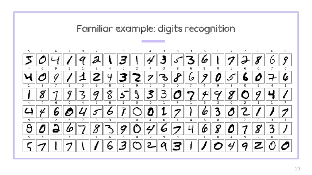 19 Familiar example: digits recognition