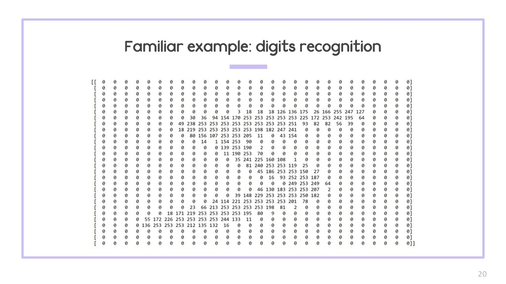 20 Familiar example: digits recognition