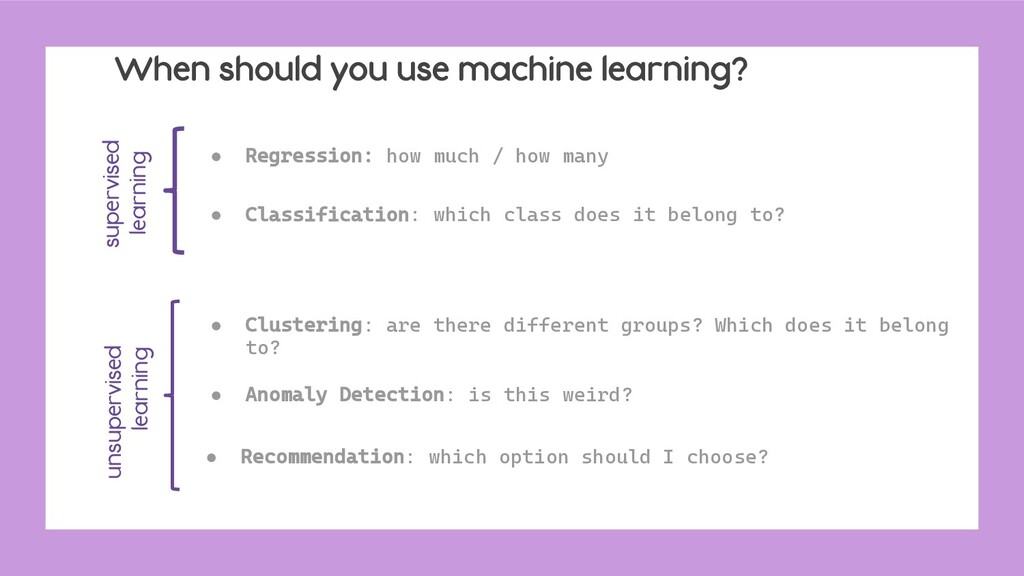 When should you use machine learning? ● Regress...