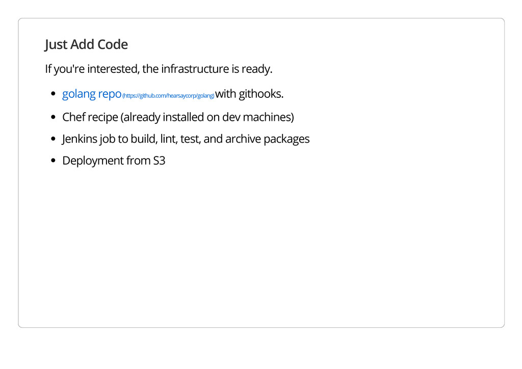 Just Add Code If you're interested, the infrast...