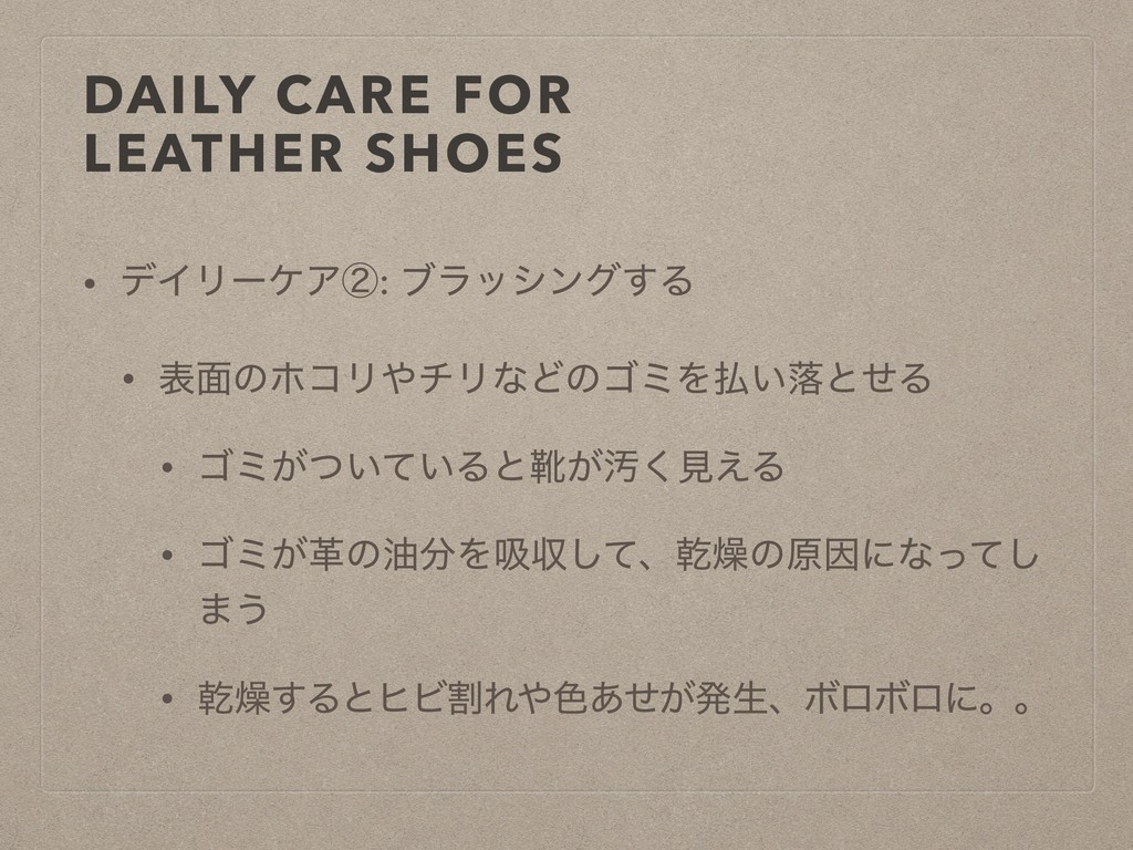 DAILY CARE FOR LEATHER SHOES • σΠϦʔέΞᶄ: ϒϥογϯά͢...