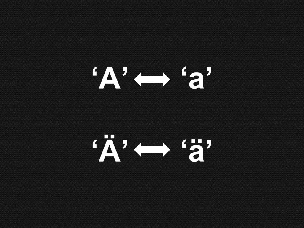 'A' 'a' 'Ä' 'ä'