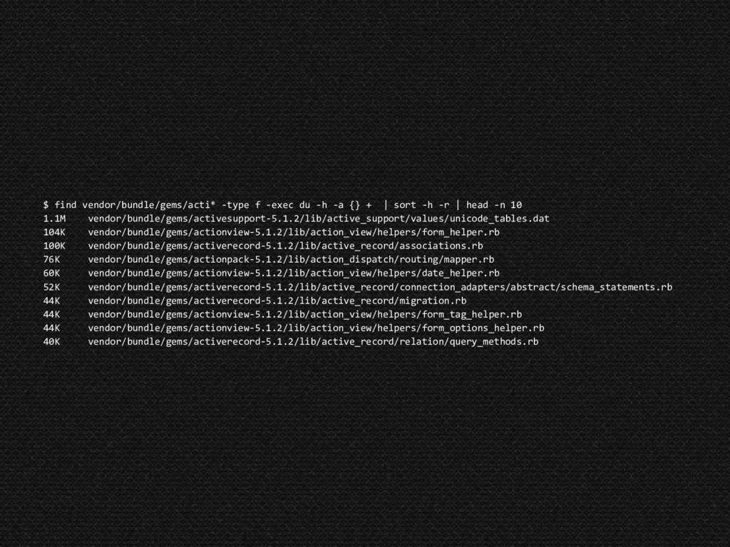 $ find vendor/bundle/gems/acti* -type f -exec d...
