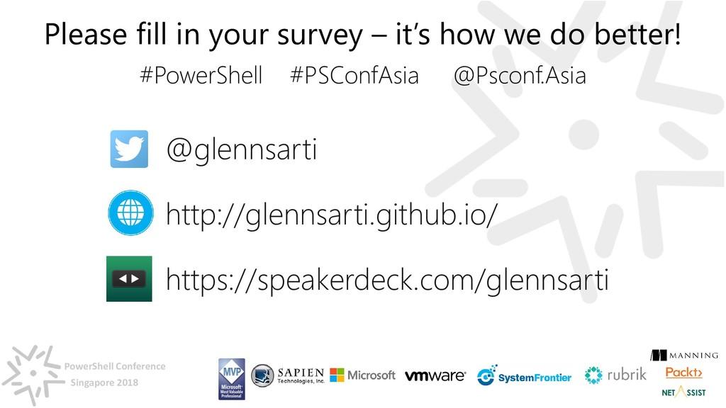 PowerShell Conference Singapore 2018 @glennsart...