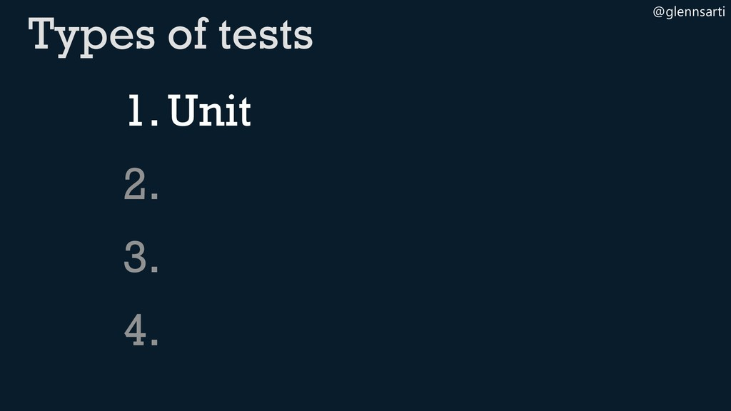 @glennsarti 1.Unit 2. 3. 4. Types of tests